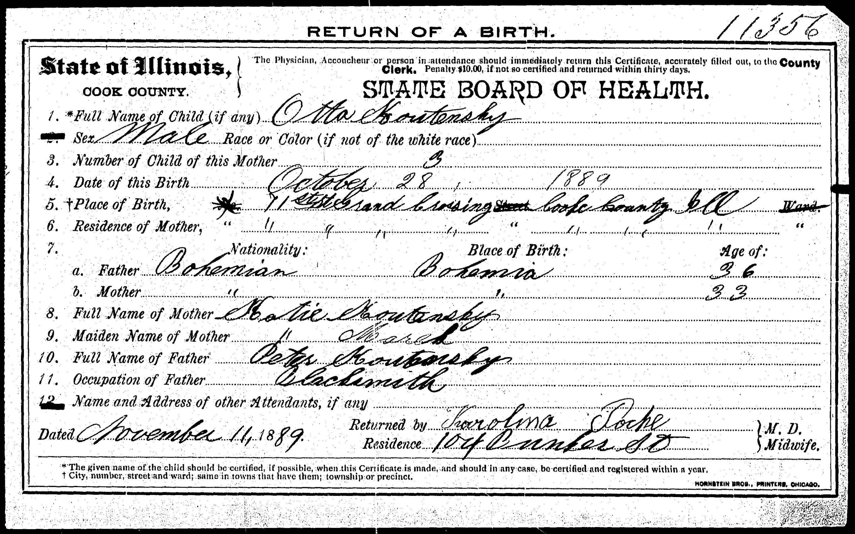 Source images for descendants of peter koutecky petr kouteck usa il a 00154 birth certificate of otto koutecky 1889 aiddatafo Image collections
