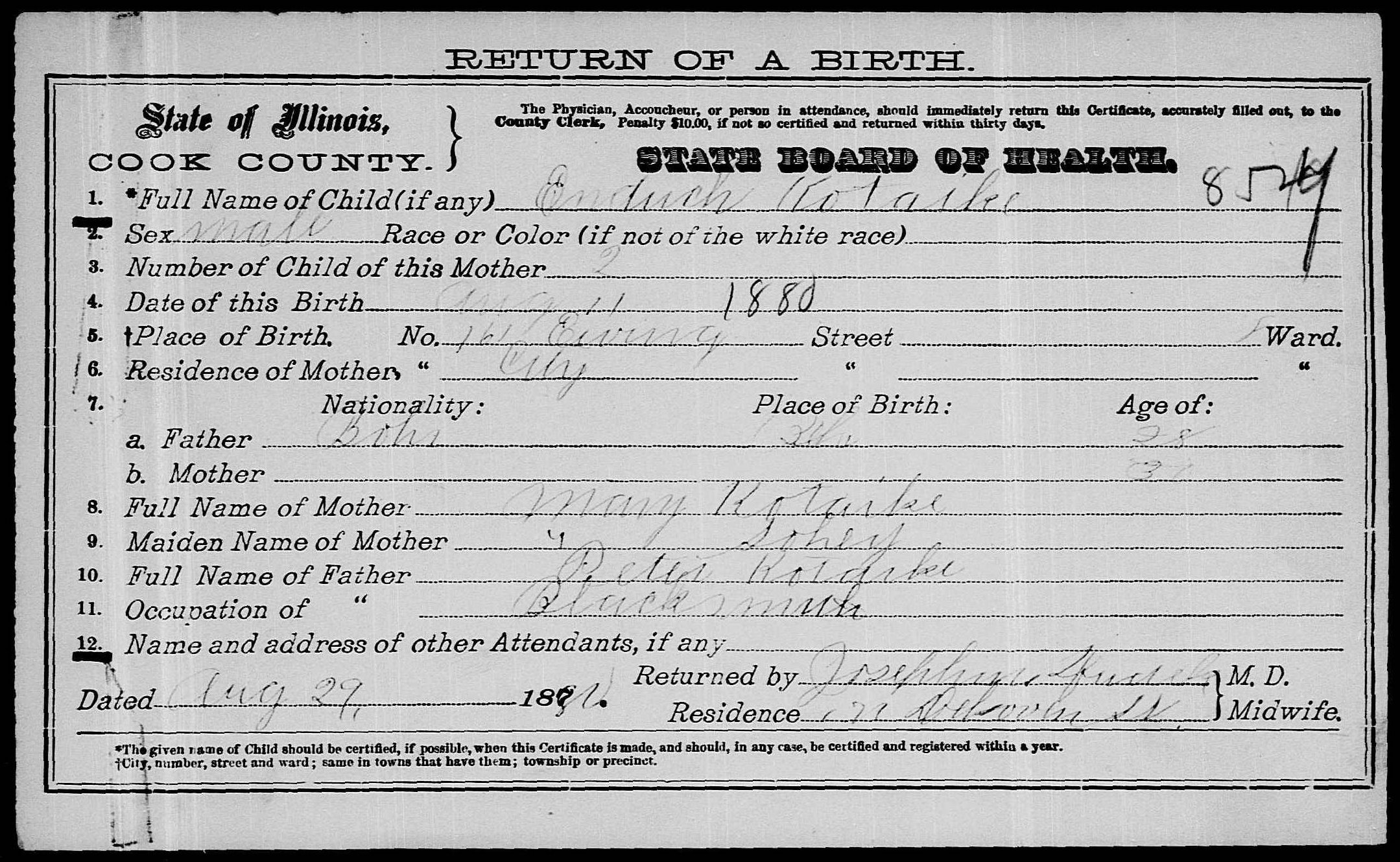 Source images for descendants of peter koutecky petr kouteck usa il a 00156 birth certificate of endrich koutecky 1880 aiddatafo Image collections
