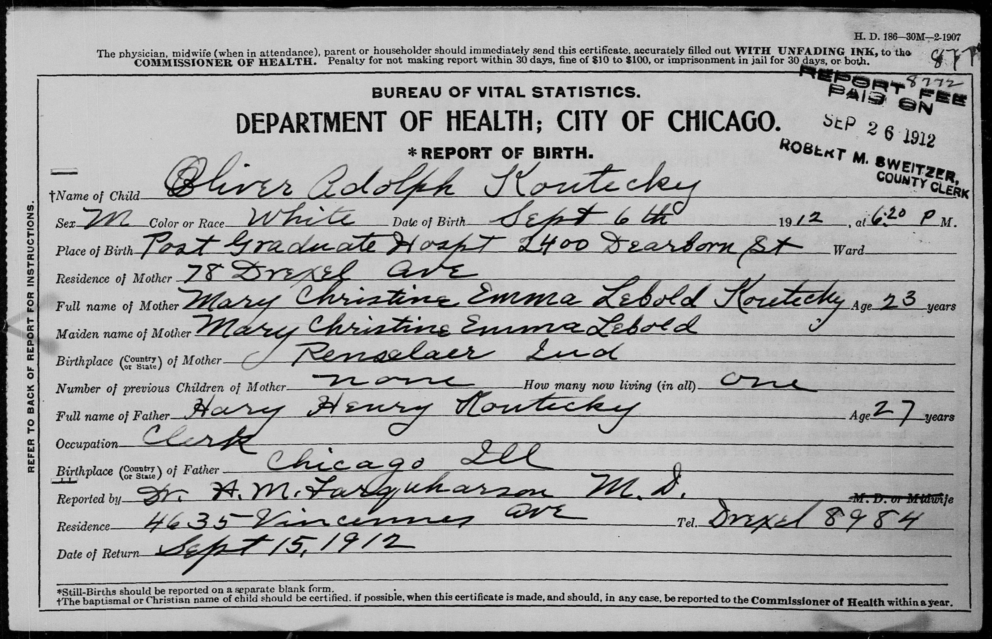 Source images for descendants of peter koutecky petr kouteck usa il a 00159 birth certificate of oliver koutecky 1912 aiddatafo Choice Image